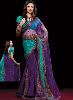 Amazing Purple Zari Embroidered Saree