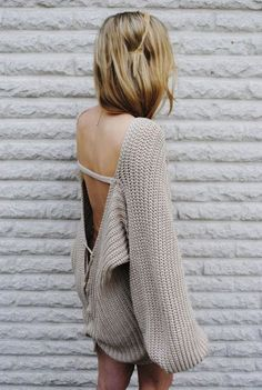 open back lace up chunky sweater / modekungen