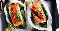 Beautifully baked salmon parcels with chilli, zucchini and asparagus.