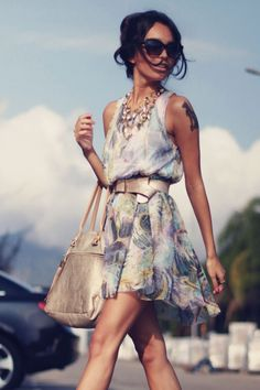 Great color scheme, gorgeous flowy dress, chic street style, women's fashion, women's style