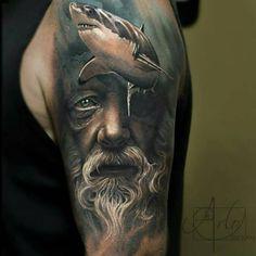 tattooculturemagazine #poseidontattoo artist - Arlo DiCristina @arlotattoos…