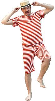 A rental old-fashioned bathing suit with a straw boater. Cat Costumes, Dance Costumes, Costume Ideas, Plus Games, So Creative, Swimming Costume, Boater, Red And White Stripes, Southern Belle