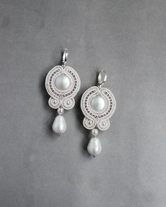 Soutache dangle small pearl white silver earrings with Swarovski, Embroidered beaded bohemian jewelry, Wedding bridal milk boho earrings White Earrings, Silver Hoop Earrings, Bridal Earrings, Boho Earrings, Silver Jewelry, Silver Ring, Soutache Earrings, Beaded Necklace, Handmade Necklaces