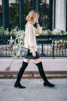 Avec quoi porter des cuissardes ? #stuartweitzman   Caroline Receveur