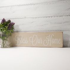 Bless Our Home Sign With Mason Jar-Sweet Almond With White Hand Painted Lettering- French Chic- Shabby- Country Decor by CountryLivingAtHeart on Etsy