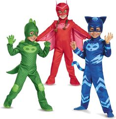 Cute Toddler Costumes -- Gekko, Owlette, and Catboy from the PJ Masks show.