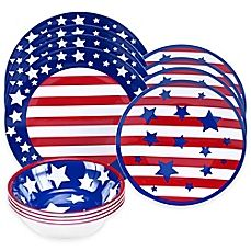 image of Certified International Stars and Stripes 12-Piece Dinnerware Set