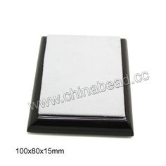JD-AG002-01 Wooden cabochon display, Dark brown and white color, Rectangle, Approx 100x80x15mm, 10 pieces per bag, Sold by bags - chinabead.cc