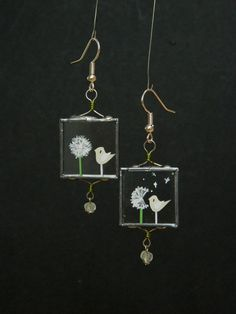 Birds and Dandelion  Unique Glass Earrings by lintunakit on Etsy, $20.00
