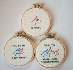 "Charlie the Unicorn cross stitches, completed set of 3 colorful unicorn cross stitches in small colorful frames (while supplies last) or 3"" wood embroidery hoops"