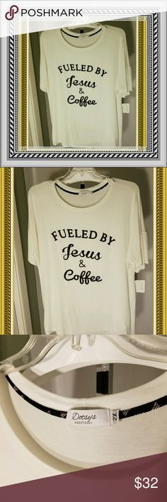 """""""Powered by Jesus & Coffee"""" tee shirt 2X NWT Dotsy's boutique, a local Amarillo boutique. I bought for myself to wear with black pants and oversweater. Is long loose and comfy but just a bit large for me. Losing money on this shirt. Paid $39 for it. Price firm unless bundled but does come with free jewelry gift.  Great for running out to STARBUCKS to meet friends or just an everyday comfy tee. ☕☕☕☕🥄🍵🍵🍵🍵 Dotsy's Tops Tees - Short Sleeve"""