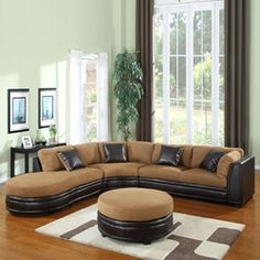 @Overstock - This large three-piece sectional features coil spring seat construction for extra comfort and durability. Covered in microfiber and coordinating dark brown polyurethane leather, this sectional set adds warmth and comfort to your home.http://www.overstock.com/Home-Garden/Three-Piece-Dark-Brown-Sectional/5958529/product.html?CID=214117 $999.99