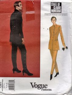 1251 Vogue Sewing Pattern Claude Montana Paris Original Jacket & Pants 8-10-12 #VoguePatterns #ClaudeMontana