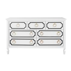 Beverly 7 Drawer Dresser in White and Black - we love the black molding on this darling crib furniture. So chic! #PNshop