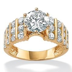 3.36 TCW Round Cubic Zirconia 18k Gold over Sterling Silver Ring at PalmBeach Jewelry
