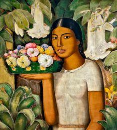 forma es vacío, vacío es forma: Alfredo Ramos Martínez - pintura. Mujer con flores - 1932