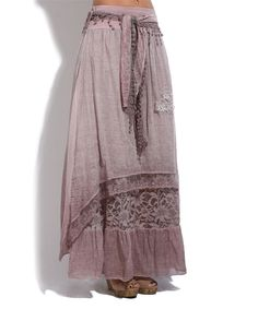 b844cbea13 La Fille du Couturier Old Rose Lace-Accent Tie-Waist Maxi Skirt - Plus Too
