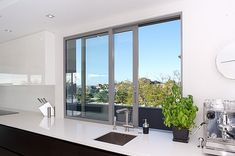 Single sliding window in kitchen would be ok - with width to match stacker door on opposite wall (opening onto deck)