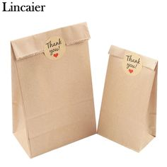 Lincaier Kraft Paper Bag Thank You Stickers Label Cookie Treat Candy Buffet Envelope Gift Wrapping Sandwich Bread Food Bag - 2019 Dessert Packaging, Cookie Packaging, Soap Packaging, Diy Paper Bag, Paper Bag Crafts, Paper Bags, Paper Bag Design, Kraft Bag, Thank You Stickers