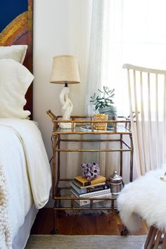 7 Ideas to Steal from the Boston Magazine Design Home: 1. Bar carts as nightstand
