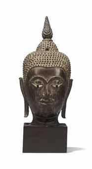 A BRONZE HEAD OF BUDDHA THAILAND, AYUTTHAYA PERIOD, 17TH CENTURY