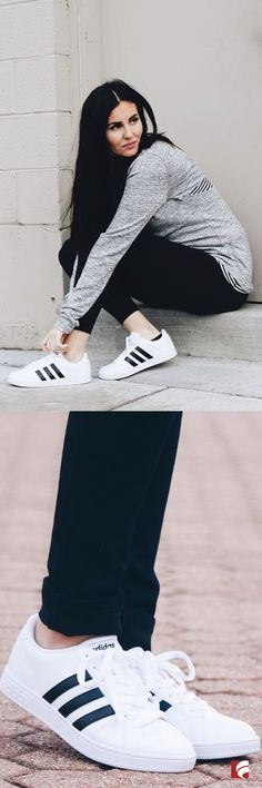 Put a throwback spin on your athleisure style in the adidas Neo Baseline Sneaker! @saltedsisters pairs this versatile sneaker with simple black pants and a grey long-sleeve tee for a look that can transition perfectly from the gym to weekend coffee with friends. The Neo Baseline features a leather upper in a casual low top fashion sneaker style with a round toe and iconic three stripe adidas details.
