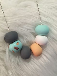 Items similar to Polymer clay necklace. Mint, copper, peach, white and grey 'the piper' on Etsy Fimo Clay, Polymer Clay Beads, Polymer Clay Crafts, Beaded Jewelry, Handmade Jewelry, Beaded Necklace, Diy Jewelry, Macaroni Necklace, Wooden Necklace