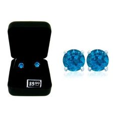 London Blue Topaz Earrings, Gift-Boxed #BerclazFineJewelry #Stud