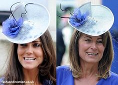 True blue: once again Kate has 'something borrowed, something blue' from her mum's wardrobe. This time the Duchess of Cambridge and Carole Middleton shared Jane Corbett fascinator hat in baby blue colour