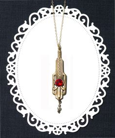 Art nouveau necklace | Red crystal art deco jewelry | Metropolis | Victorian brass filigree pendant | Gold filled chain by…