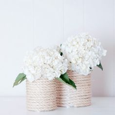 Nautical Rope Vase DIY from simple supplies like coffee cans and rope!