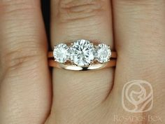Robyn 7mm 14kt Rose Gold Round FB Moissanite 3 Stone Wedding Set (Other metals and stone options available)
