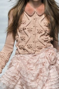 Love the combination of knits with ruffles and organza...#couture #fashion #Blumarine..