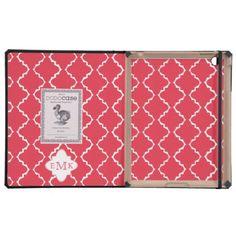 Elegant Quatrefoil Monogram - Red White iPad Folio Cases
