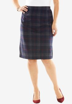 8bcdf354ba2 Jessica London Wool Blend Navy Plaid Pencil Skirt Plaid Wool Skirt