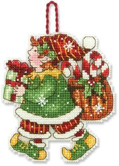 Dimensions Elf (Christmas Ornament) - Cross Stitch Kit. From designer Susan Winget, this Elf Ornament counted cross stitch kit from Dimensions lets you create a