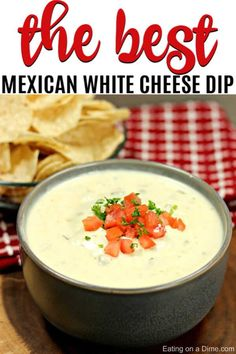 The Best Mexican White Cheese Dip - Authentic Queso Dip recipe This is the Best Mexican White Cheese Dip recipe. An Authentic queso dip that tastes just like the Mexican Restaurant white sauce. Your entire family is going to love this queso blanco. Mexican Appetizers, Mexican Food Recipes, Appetizer Recipes, Mexican Restaurant Queso Dip Recipe, Best Mexican Queso Recipe, Queso Dip Mexican, Queso Recipe Easy, Moes Queso Recipe, Gourmet