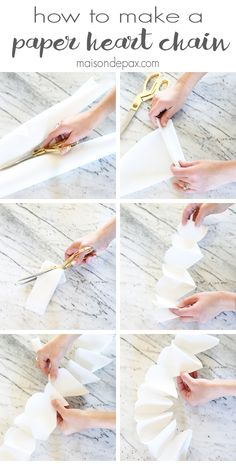 How to Make a Paper Heart Chain: such a simple decoration for Valentine's Day! These cut paper hearts make a gorgeous and easy banner | maisondepax.com