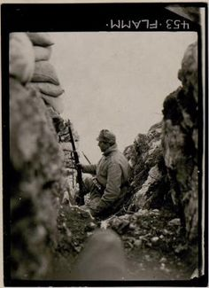 WW1, 1914. Observation post on the ridge of Monte Sabotino, on the border between Slovenia and Italy. bildarchivaustria WK1/ANNEX003/00098