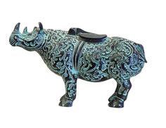 Chinese Green Bronze-ware Rhino Figure Display