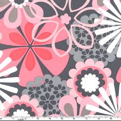 Flower Shower in Petal Pink and Gray Modern Fabric,   Michael Miller Fabrics, 20 inches. $4.90, via Etsy.