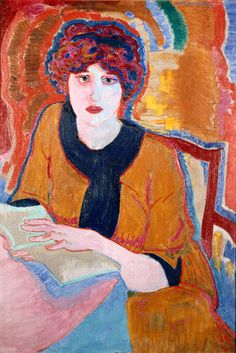 Woman Reading (1911). Jan Sluijters (Dutch, 1881-1957). Assimilated French influences into a divisionist style, characterized by an expressive use of bright dots, lines and blocks of colour. It was this form of divisionism, of which Sluijters was a chief representative, that brought about avant-garde painting in Amsterdam. The new French colour was used in a more concentrated form in figure paintings from 1911, made up of larger planes with clearly defined outlines, for example Woman Reading.