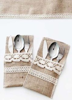 Discover recipes, home ideas, Burlap Table Runners, Lace Table, Diy Furniture Covers, Home Crafts, Diy And Crafts, Sewing Crafts, Sewing Projects, Cutlery Holder, Sewing To Sell