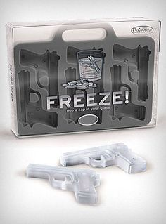 Fred & Friends Freeze Handgun-Shaped Ice-Cube Tray Chill drinks while heating up the party with help from this creative ice-cube tray. Fitted with six handgun-shaped molds that result in intric. Ice Cube Trays, Ice Tray, Ice Cubes, Tupperware, Food Storage, Freeze Pops, Freeze Ice, Christmas Gifts For Him, Ice Ice Baby