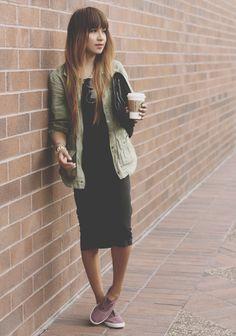 midi dress / army jacket / slip on sneakers