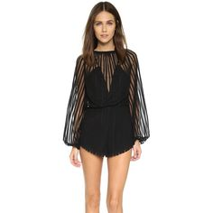 Alice McCall Something to Talk About Romper (2.225 NOK) ❤ liked on Polyvore featuring jumpsuits, rompers, black, striped romper, black rompers, black long sleeve rompers, stripe romper and alice mccall