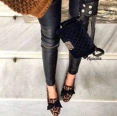 Animal print shoes and Chanel clutch
