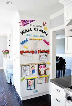 "Make a DIY Display for Your Kids' Schoolwork and Art Projects – Project Nursery My finished Kids Artwork ""Wall of Fame"" Easy Diys For Kids, Wall Of Fame, Toy Rooms, Project Nursery, Home Organization, Artwork Wall, Art Wall Kids Display, Display Kids Artwork, Art Wall For Kids"