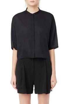 Weekday image 2 of Meryl Short Sleeve Blouse in Blue Dark