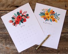 Beautiful Floral 2018 Calendar & Monthly Planner Printables - A Piece Of Rainbow